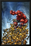 Avenging Spider-Man No.2 Cover: Spider-Man and Red Hulk Fighting Moloids Kunstdruck von Joe Madureira
