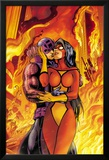 Avengers No.17 Cover: Spider Woman and Hawkeye Hugging Affiches par Alan Davis