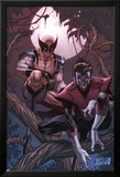 Wolverine Weapon X No.16 Cover: Nightcrawler and Wolverine Crouching in a Tree at Night Plakater af Ron Garney