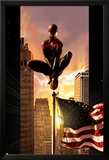 Ultimate Comics Spider-Man No.7 Cover: Spider-Man Sitting on Top of a Flag Pole in the City Posters by Kaare Andrews
