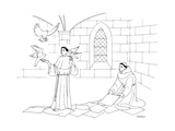 A clergyman handles three doves/pigeons, as a second one lays out papers t... - New Yorker Cartoon Premium Giclee Print by Dan Roe