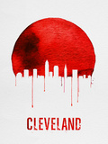Cleveland Skyline Red Plastic Sign by  NaxArt