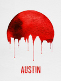 Austin Skyline Red Plastic Sign by  NaxArt