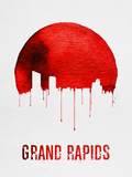 Grand Rapids Skyline Red Plastic Sign by  NaxArt