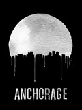 Anchorage Skyline Black Plastic Sign by  NaxArt