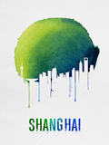 Shanghai Skyline Blue Plastic Sign by  NaxArt
