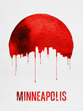 Minneapolis Skyline Red Plastic Sign by  NaxArt