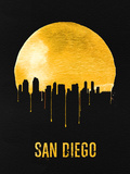 San Diego Skyline Yellow Plastic Sign by  NaxArt