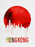 Hong Kong Skyline Red Plastic Sign by  NaxArt