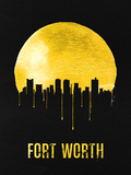 Fort Worth Skyline Yellow Plastic Sign by  NaxArt