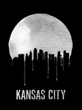 Kansas City Skyline Black Plastic Sign by  NaxArt