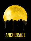 Anchorage Skyline Yellow Plastic Sign by  NaxArt