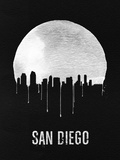 San Diego Skyline Black Plastic Sign by  NaxArt