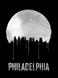 Philadelphia Skyline Black Plastic Sign by  NaxArt