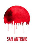 San Antonio Skyline Red Plastic Sign by  NaxArt