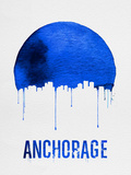 Anchorage Skyline Blue Plastic Sign by  NaxArt