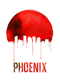 Phoenix Skyline Red Plastic Sign by  NaxArt