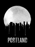 Portland Skyline Black Plastic Sign by  NaxArt