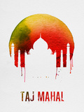 Taj Mahal Landmark Red Plastic Sign by  NaxArt