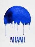 Miami Skyline Blue Plastic Sign by  NaxArt