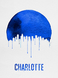 Charlotte Skyline Blue Plastic Sign by  NaxArt