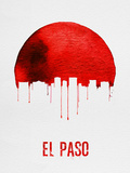 El Paso Skyline Red Plastic Sign by  NaxArt