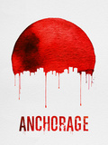 Anchorage Skyline Red Plastic Sign by  NaxArt