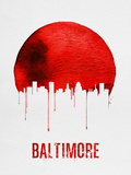 Baltimore Skyline Red Plastic Sign by  NaxArt