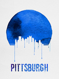 Pittsburgh Skyline Blue Plastic Sign by  NaxArt