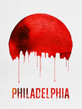 Philadelphia Skyline Red Plastic Sign by  NaxArt