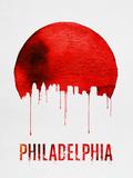 Philadelphia Skyline Red Plastic Sign by  NaxArt