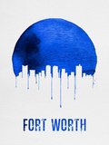 Fort Worth Skyline Blue Plastic Sign by  NaxArt
