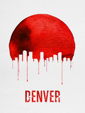 Denver Skyline Red Plastic Sign by  NaxArt