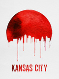 Kansas City Skyline Red Plastic Sign by  NaxArt