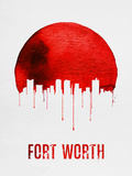 Fort Worth Skyline Red Plastic Sign by  NaxArt