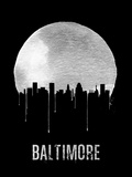 Baltimore Skyline Black Plastic Sign by  NaxArt