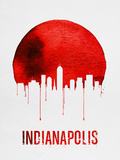 Indianapolis Skyline Red Plastic Sign by  NaxArt