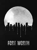 Fort Worth Skyline Black Plastic Sign by  NaxArt