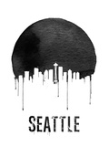 Seattle Skyline White Plastic Sign by  NaxArt