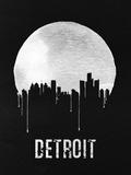 Detroit Skyline Black Plastic Sign by  NaxArt