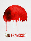 San Francisco Skyline Red Plastic Sign by  NaxArt