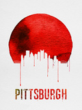 Pittsburgh Skyline Red Plastic Sign by  NaxArt