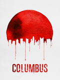 Columbus Skyline Red Plastic Sign by  NaxArt