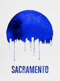 Sacramento Skyline Blue Plastic Sign by  NaxArt