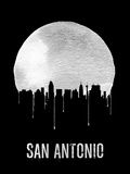 San Antonio Skyline Black Plastic Sign by  NaxArt