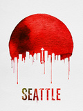 Seattle Skyline Red Plastic Sign by  NaxArt