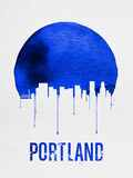 Portland Skyline Blue Plastic Sign by  NaxArt