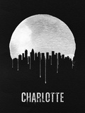 Charlotte Skyline Black Plastic Sign by  NaxArt