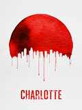 Charlotte Skyline Red Plastic Sign by  NaxArt