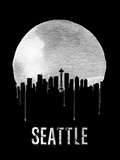 Seattle Skyline Black Plastic Sign by  NaxArt